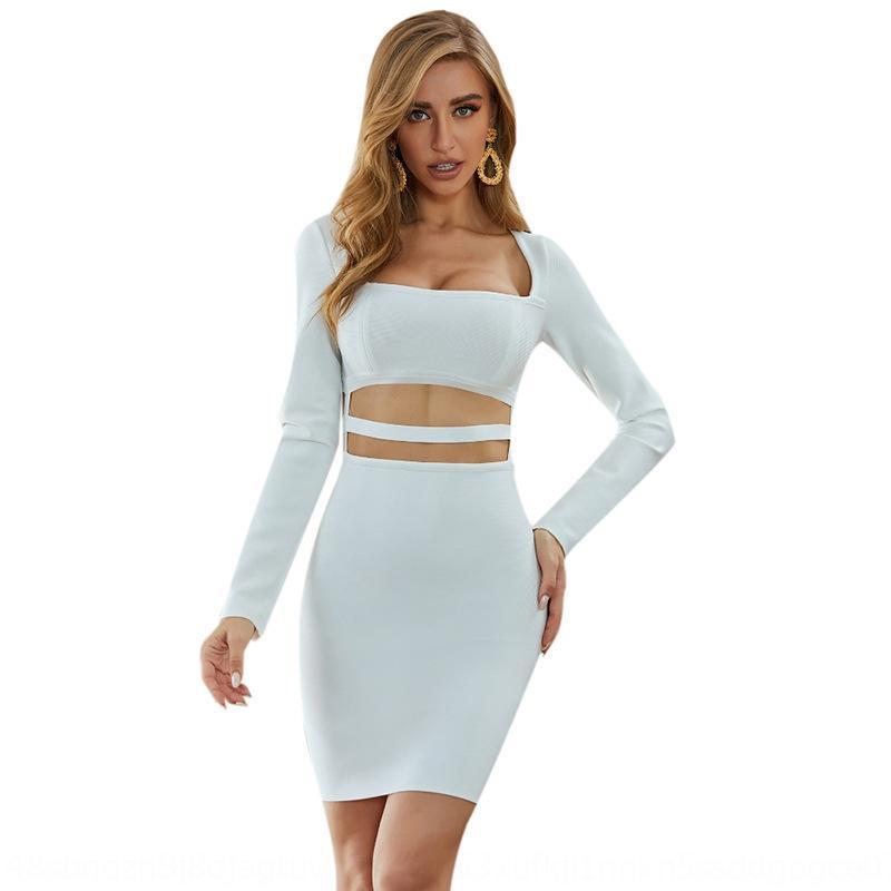 q23OD осень зима 2020 осень и зима рукав женщины бедер повязка шея полого тонкий квадратные сексуальная длинная юбка skirtwomen хип платье PBEwP