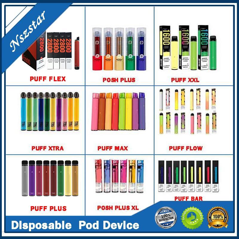 HOT BANG XXL Puff XTRA XTRA MAX FLOW BARRA POSH PLUS XL Dispositivo descartável POD Kit Cartuchos de bateria 1500 Penuffs Pen Prefilíficos Vape Vape Kits