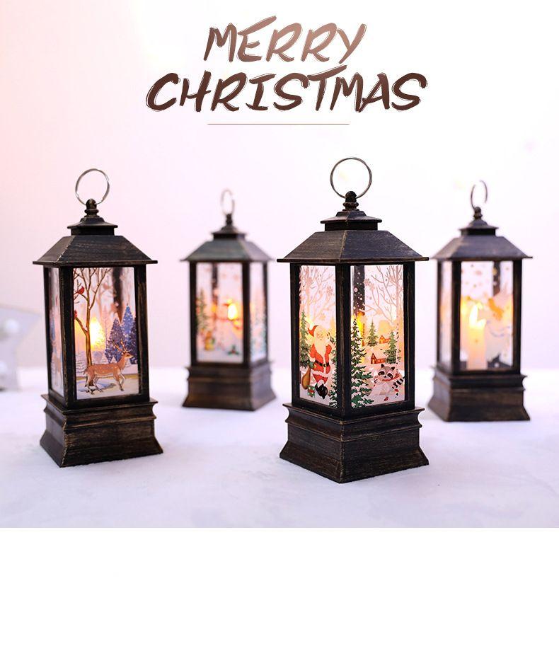 Noel LED Küçük Yağ Lambası Taşınabilir Lamba Alışveriş Merkezi Pencere Bar Restoran İç Dekorasyon Dekorasyon Alev Lamba Dekorasyon Malzemeleri