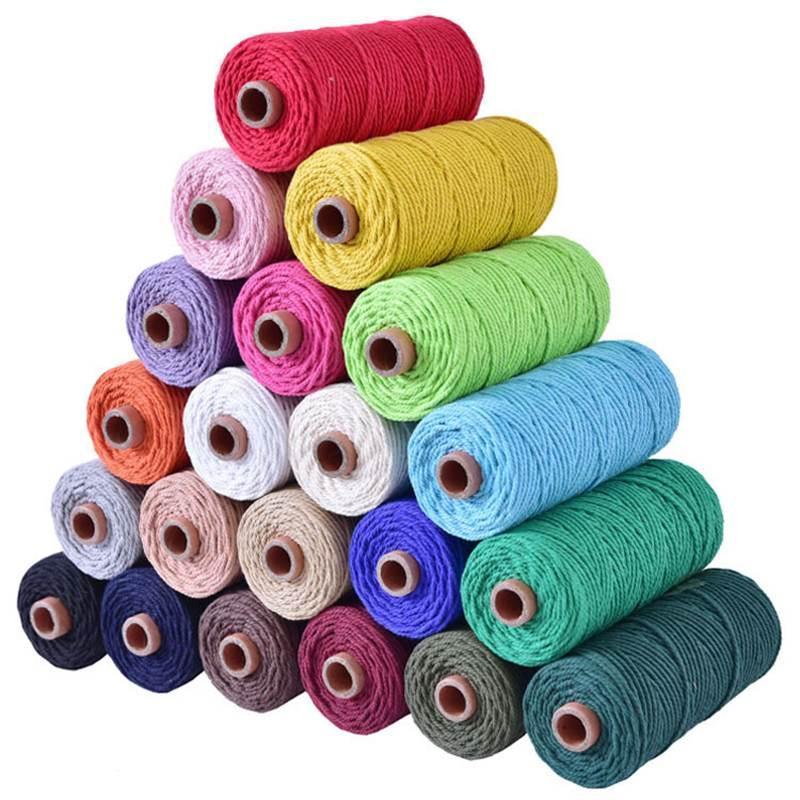 Hilo 100 metros / rollo DIY Cordón de algodón Cuerda colorida Craft Twisted Craft Macrame String Home Textile Wedding Decorative Supply