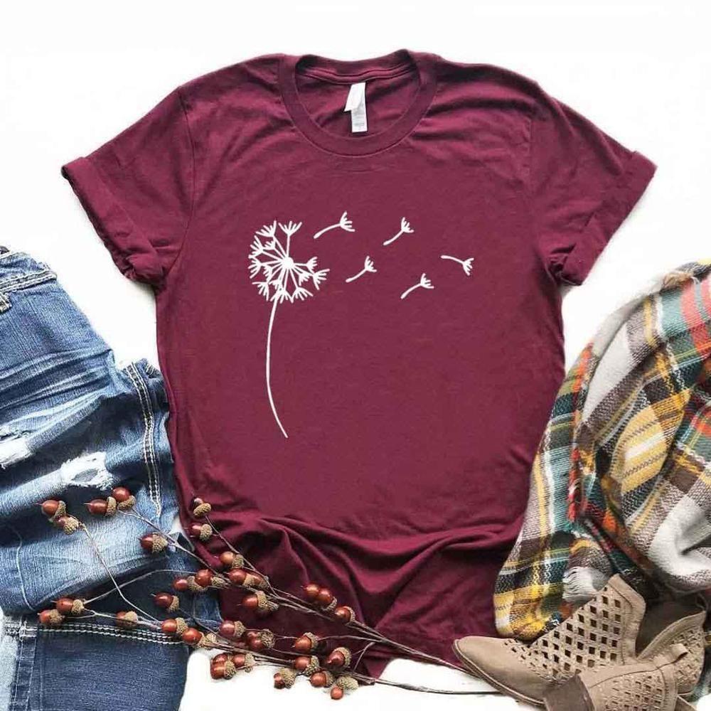 Женская футболка Wildflower Delidflower Dandelion Print Tshirt Женщины с коротким рукавом о шеи Свободные футболки Дамы причинно-следственная футболка одежда