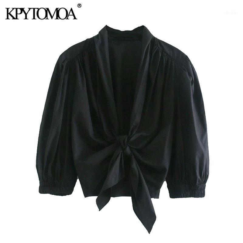 Kadın Bluzlar Gömlek KPYTOMOA Kadınlar 2021 Moda ile Elastik Trim Ruffled Kırpılmış Vintage Puf Kollu Yay Bağlı Kadın Blusa Chic Tops1