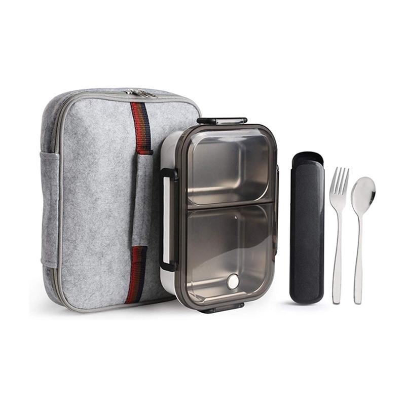 Eco amigável À prova de vazamento Bento lancheira removível de aço inoxidável Bento almoço 2-compartimento porção controle de alimentos recipiente 201210