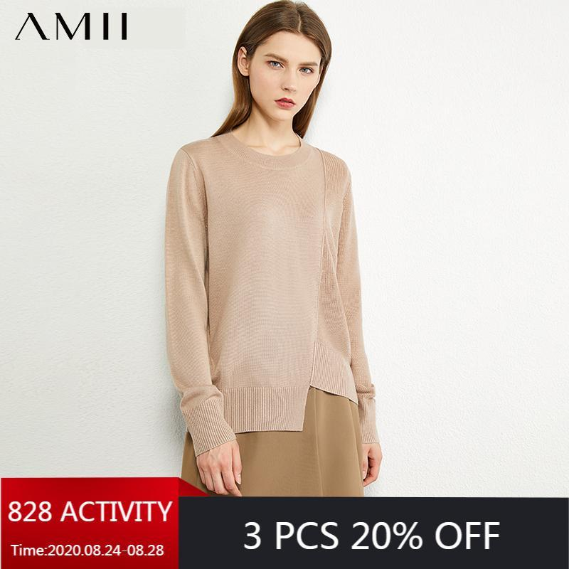 Женские свитера AMII Минимализм осень мода женский свитер твердое раскащенное TONECK нерегулярное подол свободные пуловерные причинно-следственные женские вершины 12040498