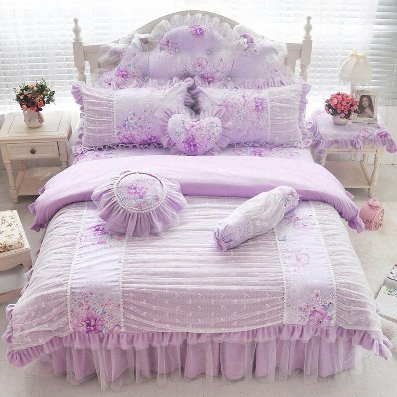 Rosa, Blau, Lila Baumwollspitze Bettwäsche Set Twin Voll Königin King Size-Mädchen-Kind Doppelzimmer Einzelbettrock Bettbezug-Set Geschenk Duvet K 7OjV #