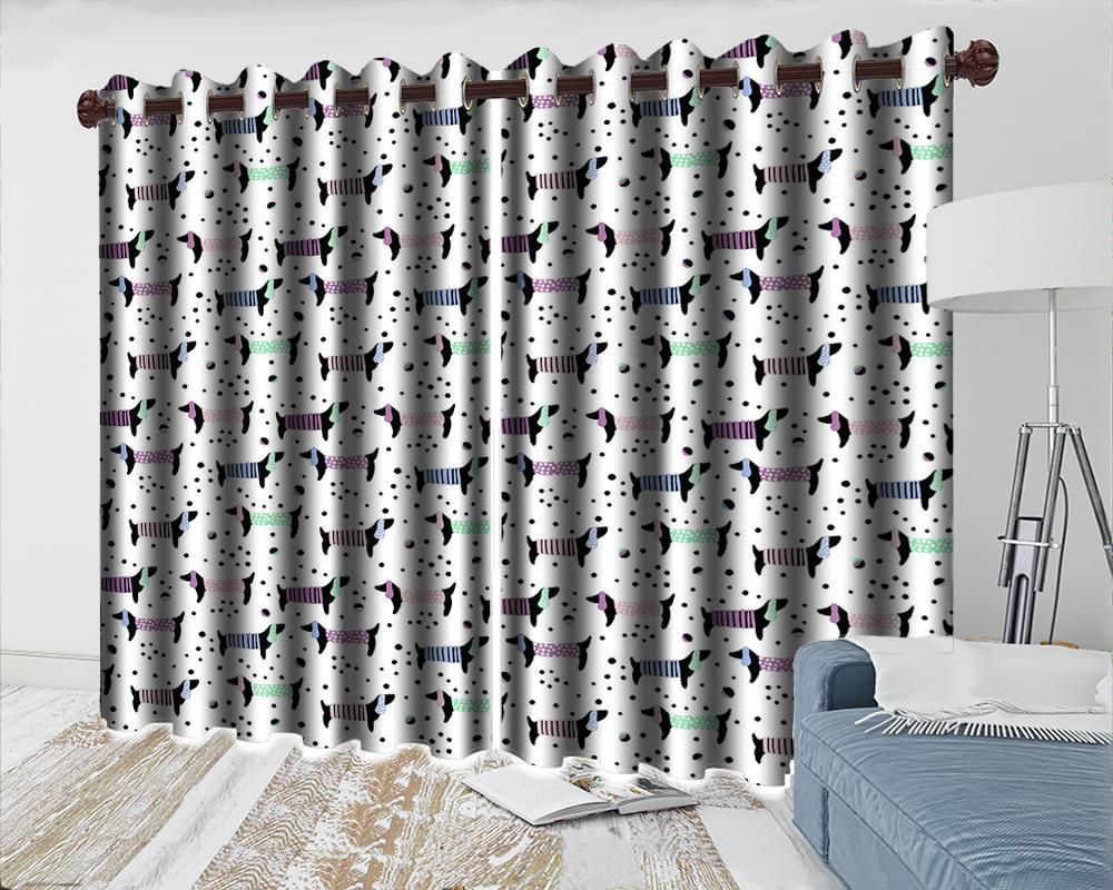 3d Cortina de janela 3D Animal dos desenhos animados Cortina moderna bonito do filhote Sala Quarto Cozinha Janela cortinas Blackout