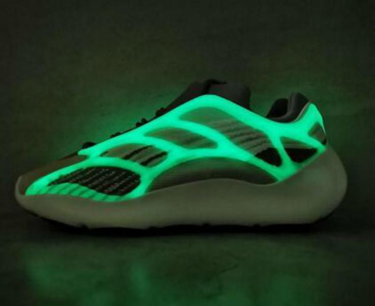 Новые Top High Quality Kanye West 700 V3 Azael Белый Скелет 3M Reflective Glow In The Dark Верхняя волна Runningg обувь Спортивные кроссовки