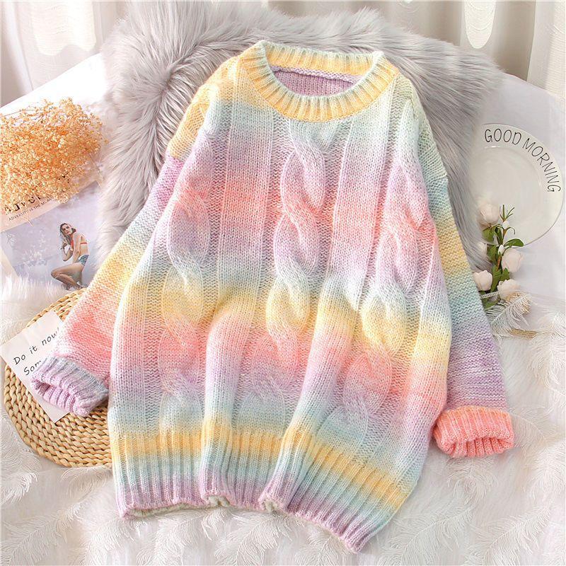 Herbst-Winter-Frauen-Regenbogen-Pullover Krawatten-Pullover O-Ansatz lange lose gestreifte koreanischen Pullover Süßigkeit-Farben-Maxi-Frauenoberteile Y1106
