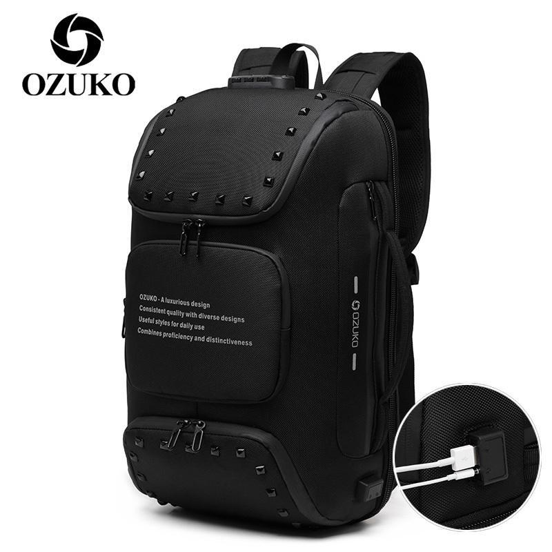 Ozuko erkek anti hırsızlık sırt çantası usb şarj seyahat laptop bagpack erkek çok fonksiyonlu çanta ayakkabı kese ile su geçirmez sırt çantaları 201119