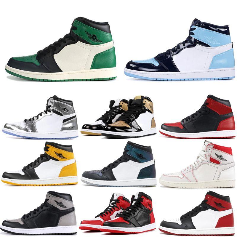 1 1 S Ayakkabı Erkek Sneaker Üçlü Beyaz Çam Yeşil Moma Ev için Bred Siyah Toe Yasak Yasak Yasak Açık Spor 7-13