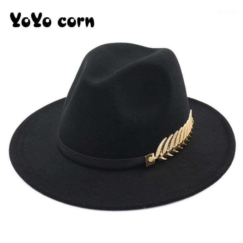 Yoyocorn Fedoras Big Brim Chapéus Para Mulheres Estilo Britânico Vintage Chapéus Lady Brim Fedoras Outono Womens Womens Hat1