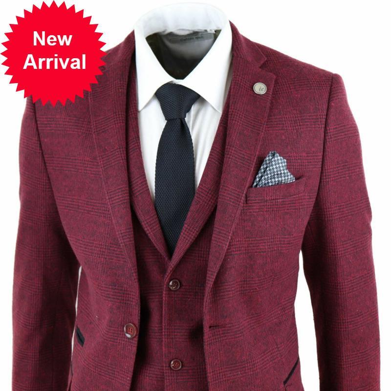 Красивые мужские костюмы винный бордовый чек проверить 3 шт еловидного костюма Tweed Homme старинные адаптированные посадки STOMO8M7