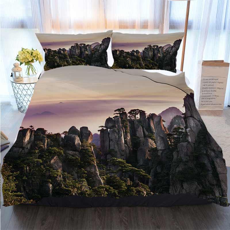 Literie 3 ensemble housse de couette Nature Huangshan Montagnes Jaunes Polyester housse de couette ensembles de literie de luxe