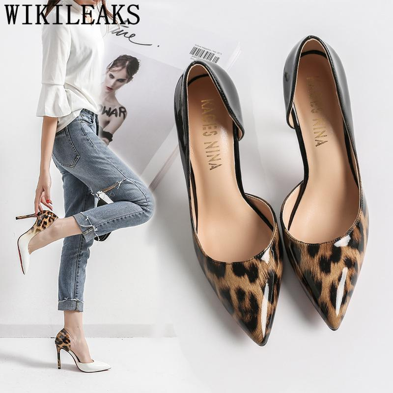 Pompes noires Chaussures léopard Femmes Femmes Robe Chaussures Sexy High Heels De Mariage Blanc High High High High High High Stiletto Fetish Buty1
