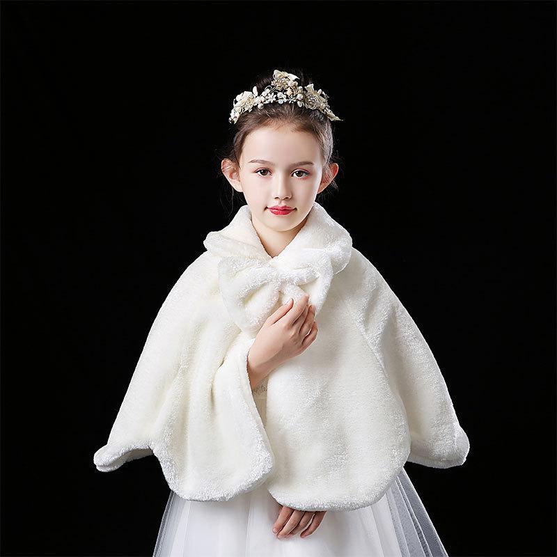 Coat Wedding Faux Fur Capo Mantello Winter Flower Girl Party Princess scialli e giacca avvolge per ragazze Bolero Cape Bambini
