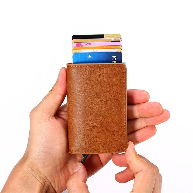 2020 Holder Zovyvol Biglietto da visita Borse Card wallet di cuoio degli uomini Donne Metallo Alluminio Box Crazy Horse PU RFID Vintage