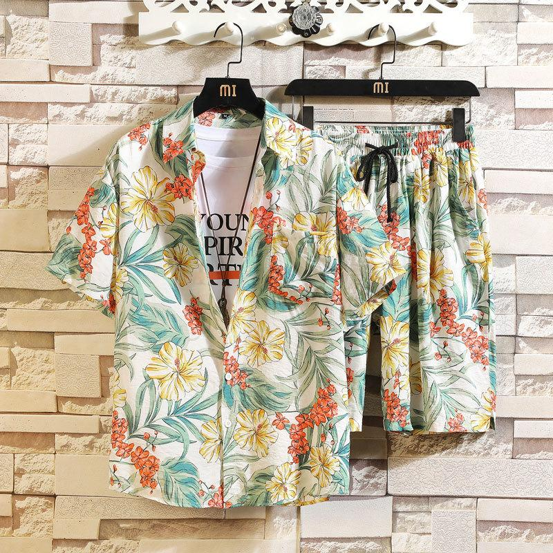 2020 Mens гавайский пляж повседневные костюмы для мужчин Топы Печать с коротким рукавом рубашки + шорты Мода Мужской 2 шт наборы Летний костюм Q1110