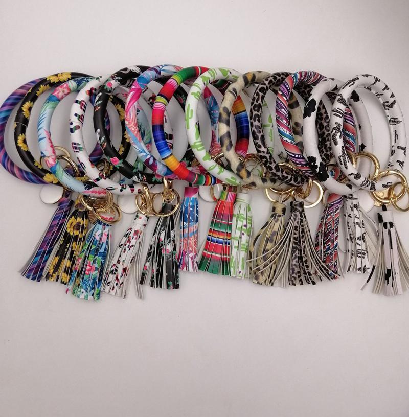 EUBFREE 10pcs mixed colors PU Leather O Key Chain Custom Circle Tassel Wristlet Bracelet Keychain Women Girl Key Ring Wrist Strap
