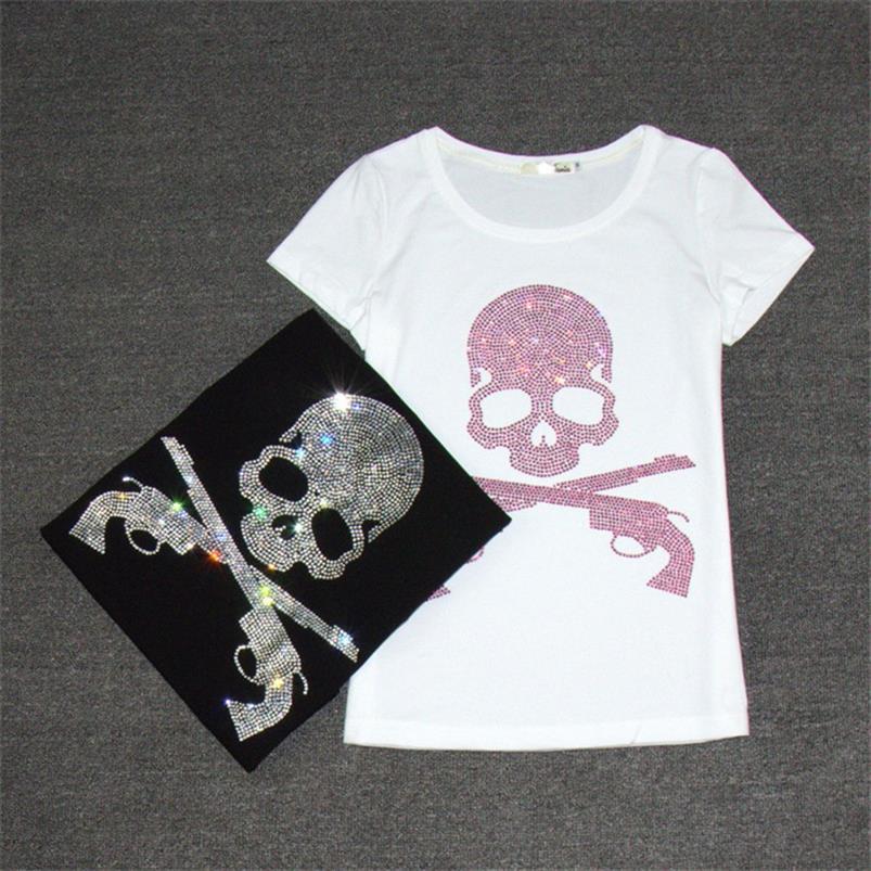 2021 Harajuku t shirt Skull Diamonds T Shirt Tops de manga corta Tops Mujeres Blanco Blanco Cuerpo de algodón negro Camisetas Camisetas 62561