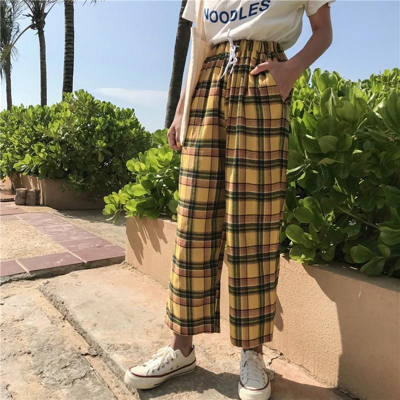 Frauen Hosen Capris Weibliche Sommer Lose Hongkong-Stil Frauen Gelbe Hohe Taille Plaid Hose Mode Hose Vintage Drop
