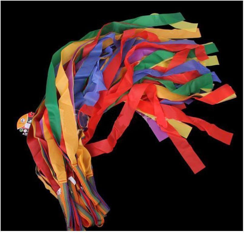 12 unids / paquete de arte gimnasia cinta de baile gimnasio rítmico ballet streamer ejercicios cintas fitness color arco iris para jllolu