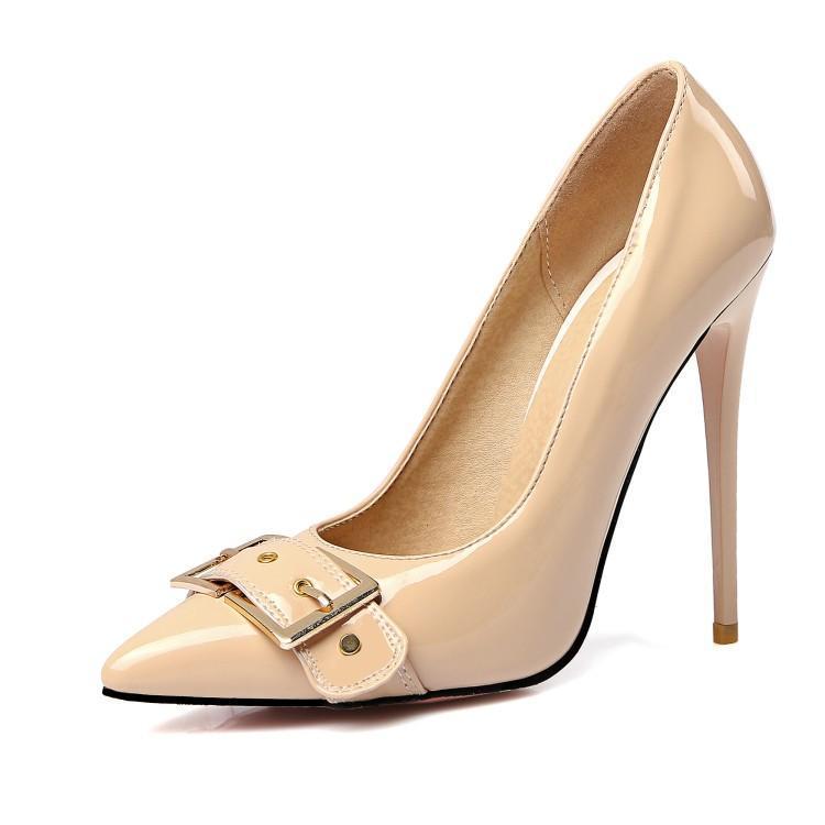 Grande tamanho apontado e raso única sapatos senhoras salto alto mulheres sapatos mulher bombas