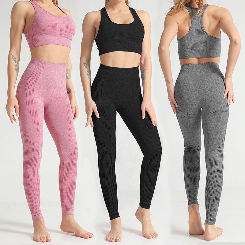 Женская Бесшовная Йога костюм Спортивная одежда Фитнес Спорт для женщин: Спортзал Running Установить костюм для йоги Спорт Тренировка Бюстгальтеры Леггинсы Наборы