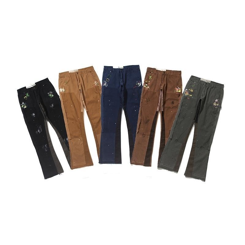 En Kaliteli Galeri Bort Boya Patchwork Kot Erkek Kadın Çiftler Düz Kot High Street Hip-Hop Gevşek Fit Jeans 201111