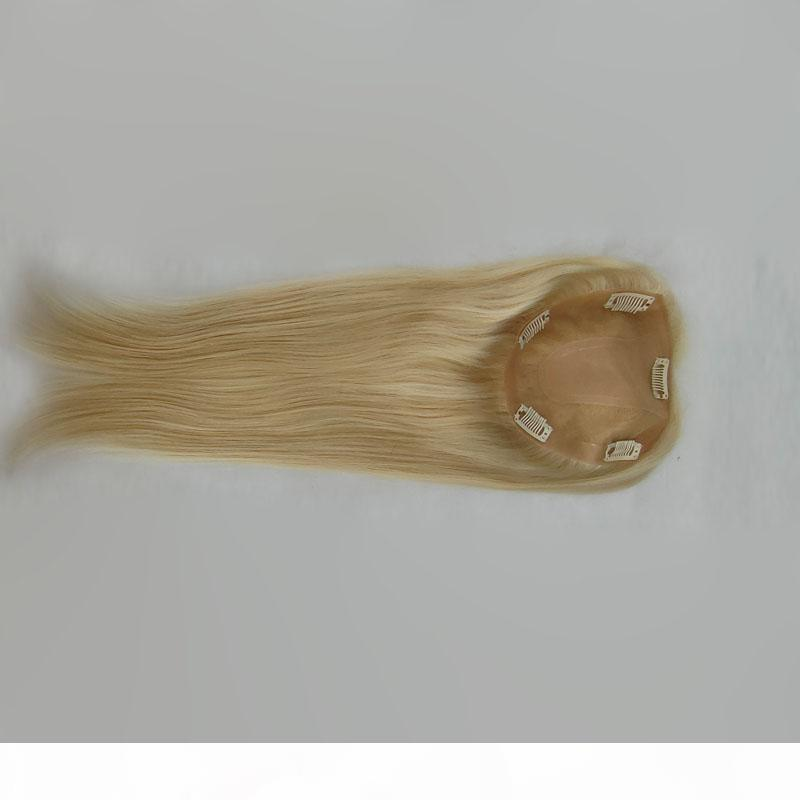 Kadınların Saç Uzantıları Doğal Kahverengi Sarışın renk seçeneği için İnsan Remy Saç Kapaklar boyutu 14 * 16 Saç ipek taban peruk