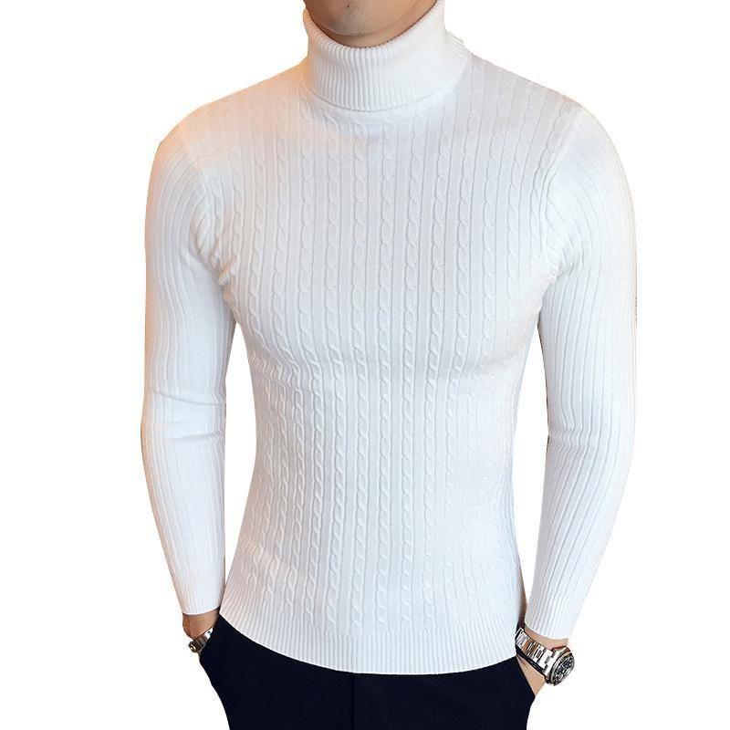 Aqueça alta Inverno pescoço grosso Sweater Men Turtleneck Designer Mens Camisolas Slim Fit pulôver Men Knitwear Masculino Duplo colar