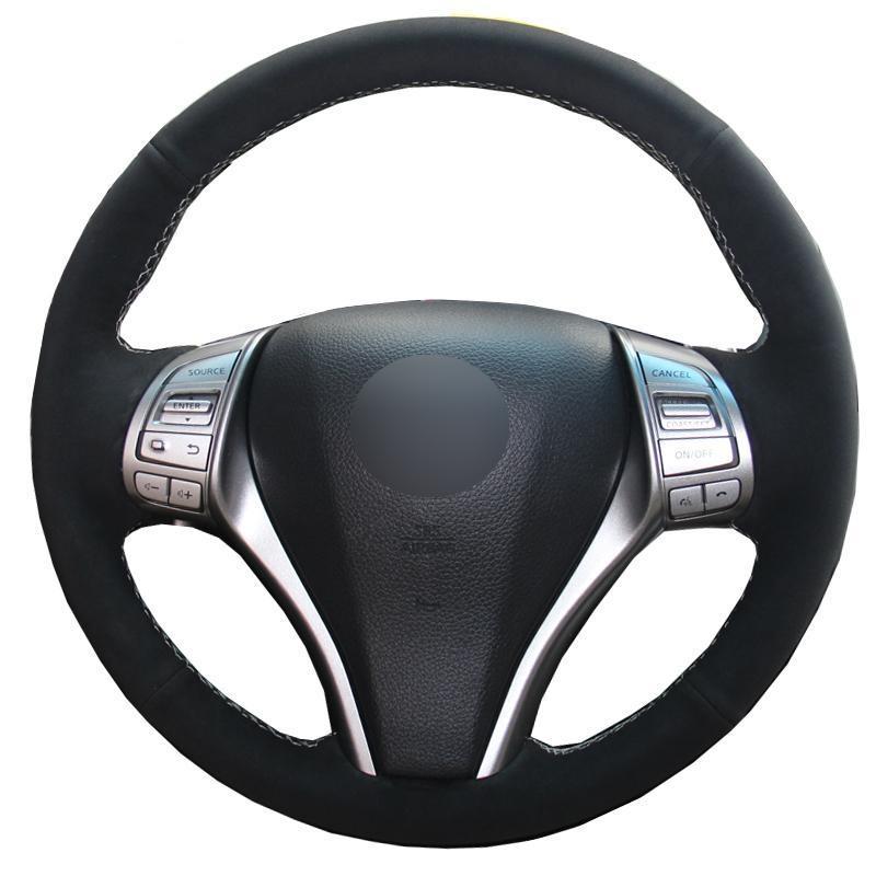 costurado à mão Steering Car Couro Roda Capa Para Nissan Teana Altima 2013-2020 X-Trail Vampira 2014-2020 Qashqai Volant 15 polegadas
