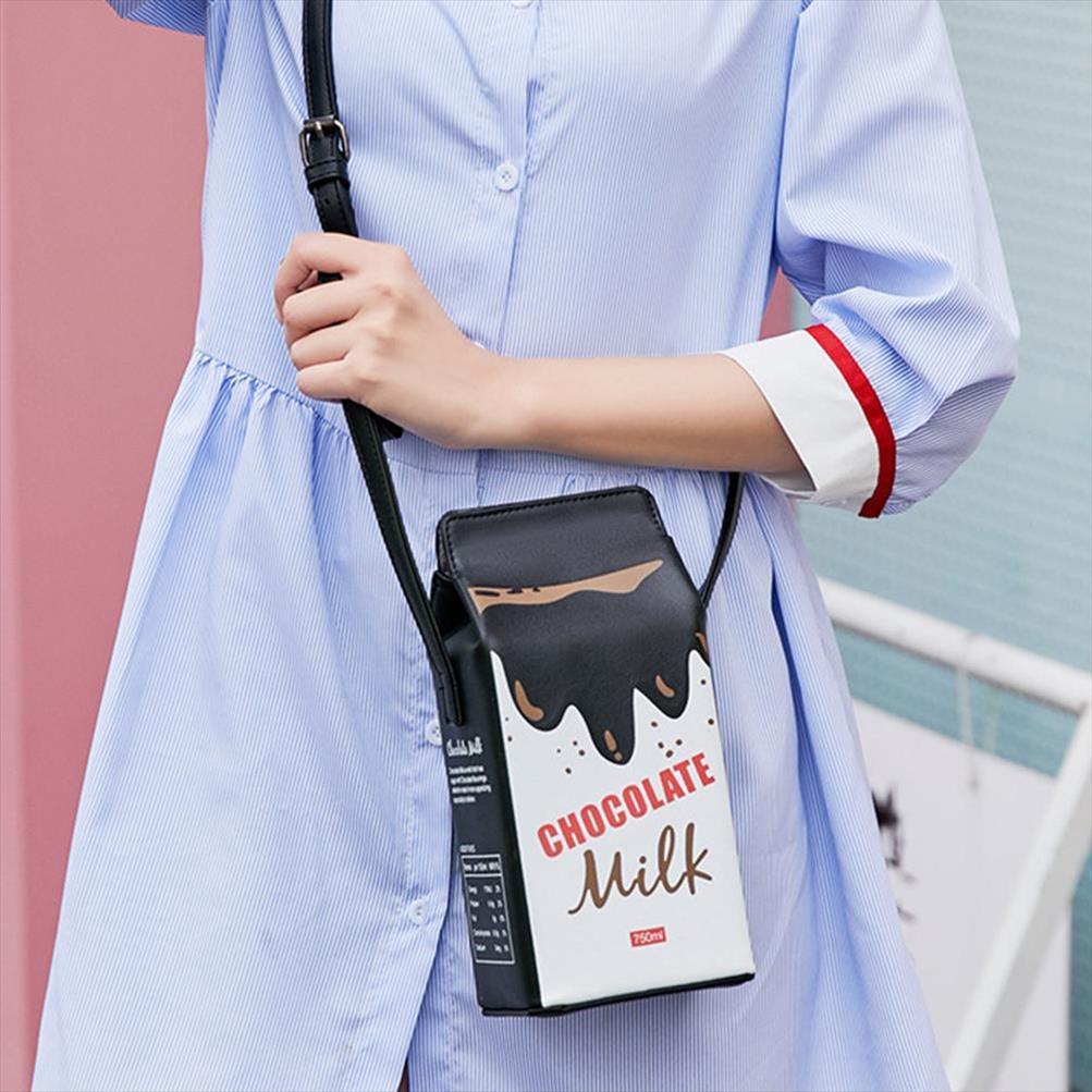 Tragbare Frauen Lustige Milch-Kasten-Form-Schulter-Beutel-Telefon-Umhängetasche Beutel Female Crossbody Beutel täglich Umhängetasche Damen Taschen