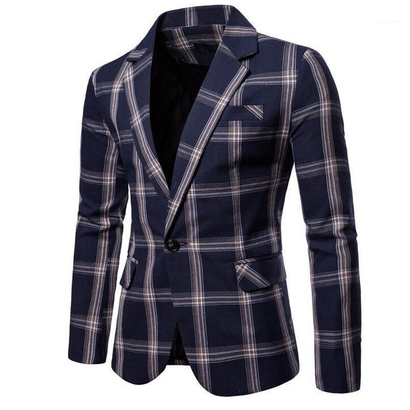 Marca Hombres Casual Gran Lattice Blazer Traje para hombre Traje de algodón Chaqueta Slim Fit Men's Classic Smart Boda Partyl Blazer para Male1