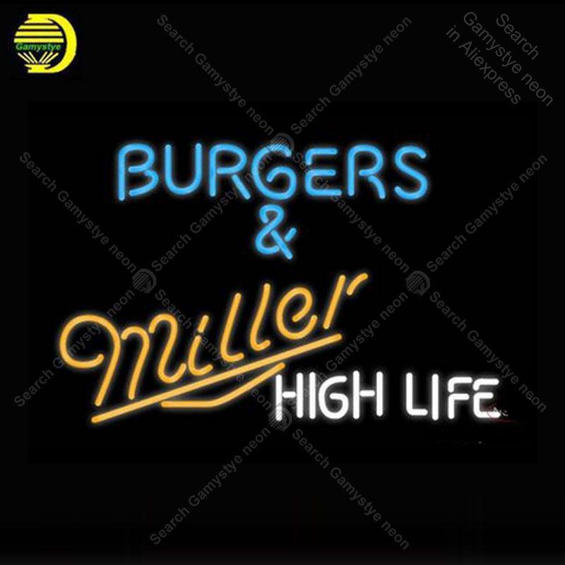 Miller hamburgers et Miller Neon lampe néon signe GLASS Tube BIÈRE BAR Pub magasin Afficher Artesanat Iconic signe frais personnalisé Sign