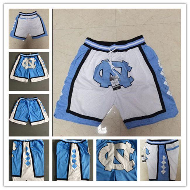 Talones de la NCAA 2020 Sólo North Carolina Tar Nuevos transpirables Sweatpants bolsillos equipos clásicos de deporte baloncesto de la universidad de la cremallera Pantalones cortos
