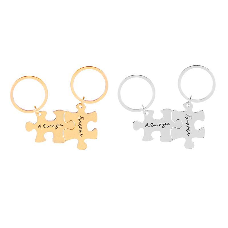 2 Stück Paar Set Immer für immer Brief Puzzle DogTag Keychain Schlüsselanhänger Weihnachts Freund Geschenk Legierung Souvenir
