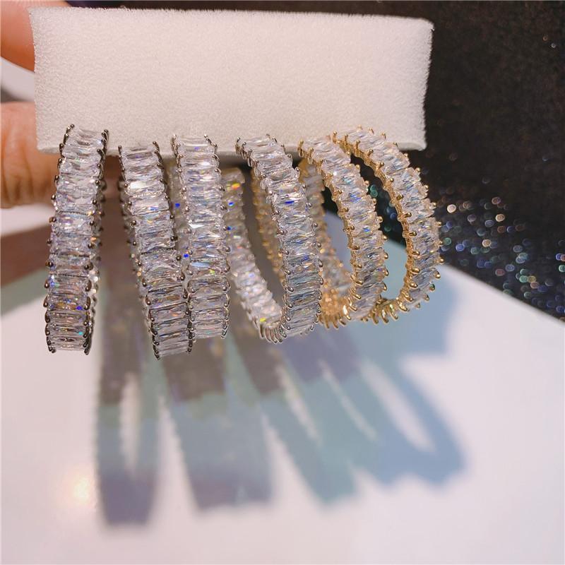 Luxo 925 Sterling Silver Hoop Brinco Princesa Corte Zircon Festa Brincos De Casamento Para Mulheres Nupcial Declaração Jóias Presente