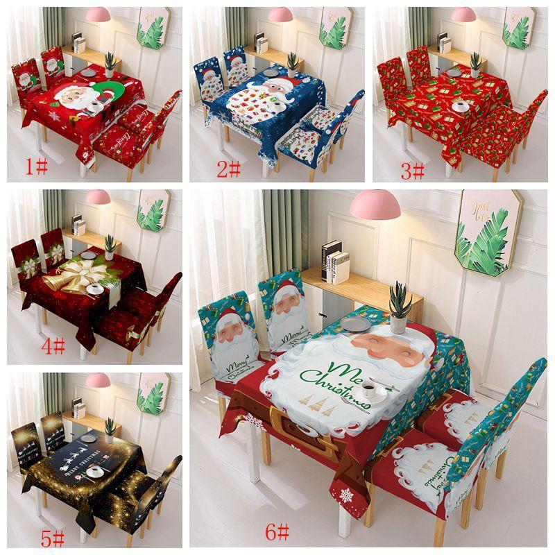 Noel Sandalye Kapak Masa Örtüsü Polyester Caroon Baskılı Klozet Kapakları Masa örtüsü Su geçirmez Elastik Sandalye Ev Partisi Dekoru VT1837 Kapaklar