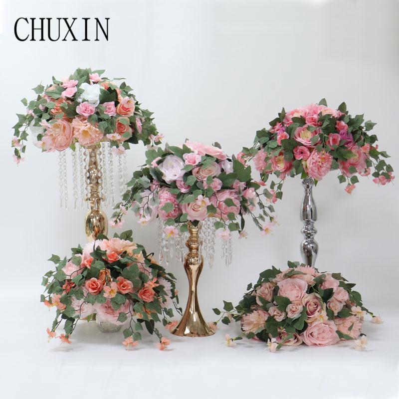 Custom 35cm artificial flowers rose ball wedding arrangement decor backdrop T station stand flowers home table garden decor