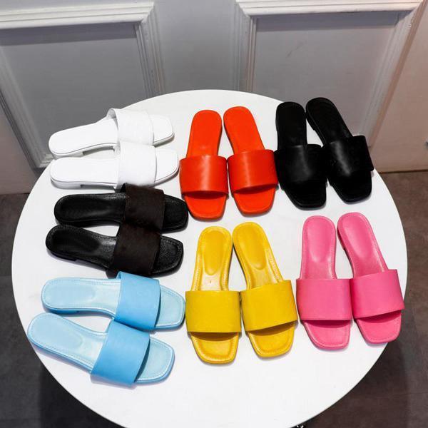 2021 Kadınlar Şeker Renkler Terlik Slaytlar Tasarımcı Mektup Baskı Düz Topuk Sandalet Kadın Podyum Tasarımcılar Terlik Partisi Sandal Slayt Kutusu Ile