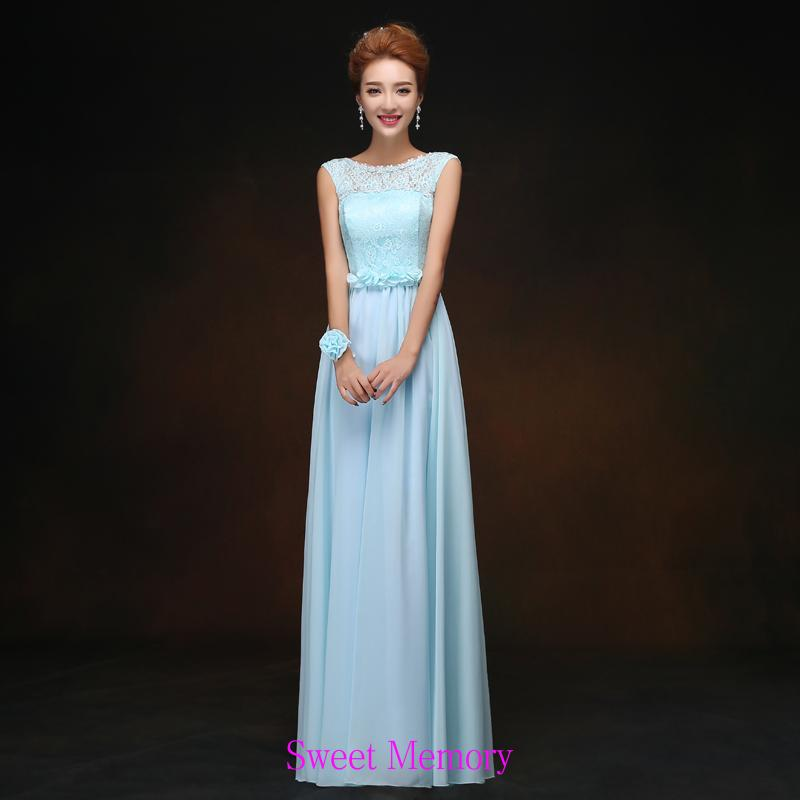Custom Made Light Blue Wedding Party Dresses Lace Up Chiffon Halter Long Bridesmaid Dress 1PL008 Sweet Memory