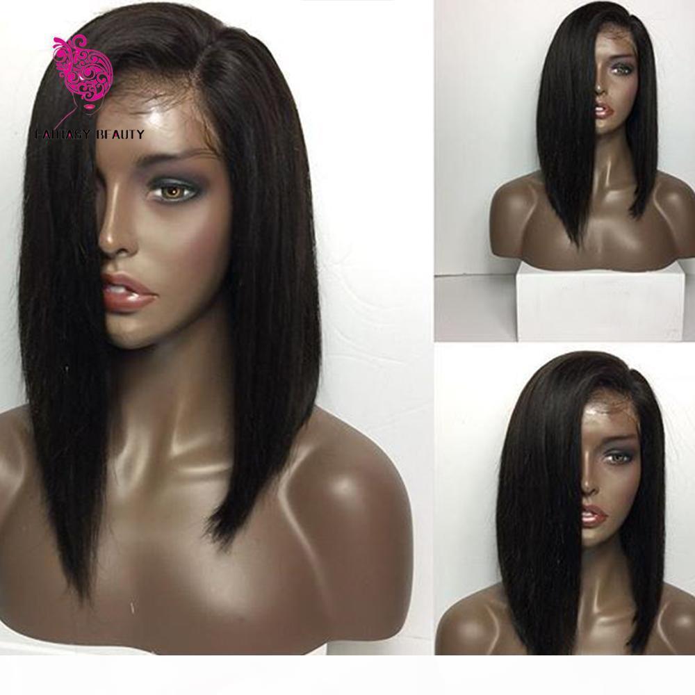 Brasilianische Gerade Bob Perücke Volle Spitze Human Haare Perücken 130 Dichte Prepucked gebleichte Knoten mit Babyhaaren für schwarze Frauen