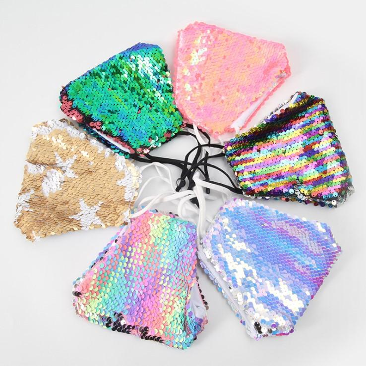 Wholesale Personalized Sequins Dustproof, Sunscreen and Windproof Cotton Lining Mask Party Mask Fashion Mask Bling Bling Face Decoration
