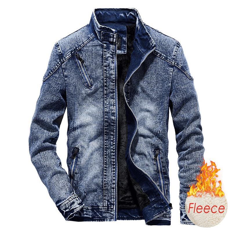 Männer 2020 Winter New Cotton Fleece Denim-Jeans-Jacken-Mantel-Mann-Herbst-Art Outwear Outfits warmen Vintage klassische gewaschene Jacken 1111