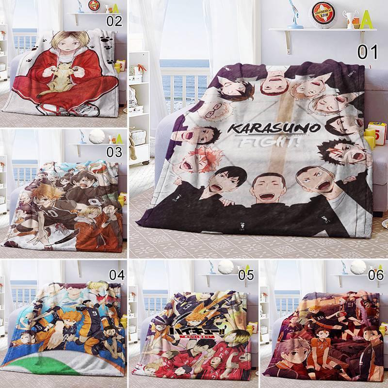 Anime Haikyuu Print Flannel Bedroom Quilt Sofa Plush Throw Winter Blanket Bed Rug 7R31