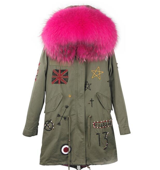 Drapeau britannique perles rose raton laveur garniture Maomaokong neige manteaux de neige rose fox fourrure doublure femme armée green canvas long Parkas