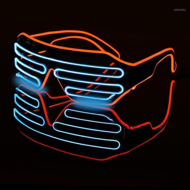 Gafas luminosas LED Halloween Resplandor de Neón Neón Partido de Navidad Bril Flashing Light Brillo Gafas de sol Gafas de sol Festival de vidrio Suministros Trajes1
