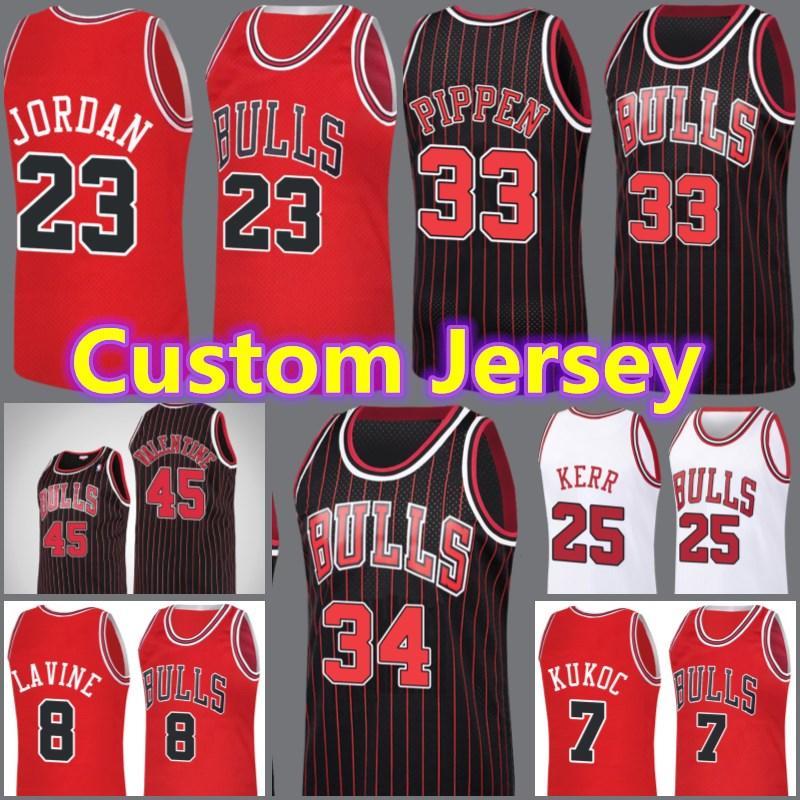 ChicagoStierJersey Custom Michael 23 MJ Retro Scottie Pippen Dennis Rodman Zach Coby Lavine White Wendell Basketball Carter Jr. Saas