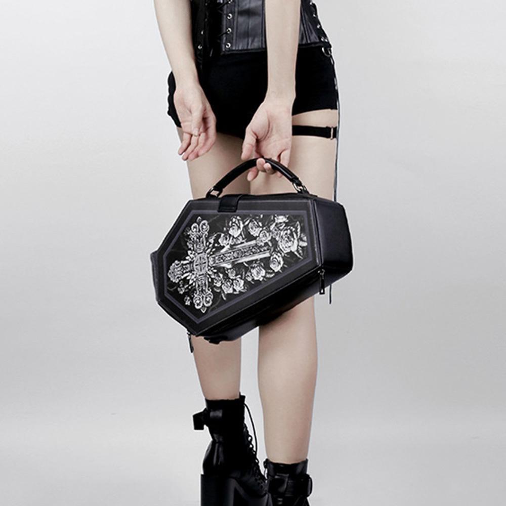 Rosetic Halloween PU Leather Backpacks 2020 Women Shoulder Bag Gothic Skull Rose Cross Print School Bags Small Backpack Travel Q1113