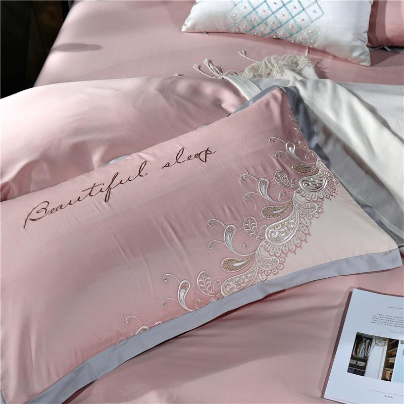 High-Grade 100S Satin Long-Staple Cotton Embroidery Four-Piece European-Style Cotton Embroidered Bedding Factory Direct Sales Delivery